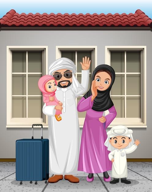 Arabische familie im urlaub Kostenlosen Vektoren
