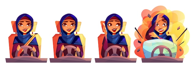 Arabische frau, die autoillustration des mädchens in saudi-arabien hijab mit nicht befestigtem sicherheitsgurt fährt Kostenlosen Vektoren