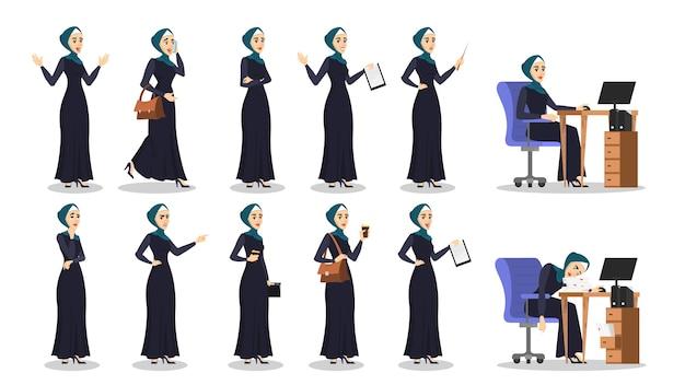Arabische geschäftsfrau eingestellt. sammlung der dame im hijab Premium Vektoren