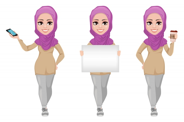 Arabische geschäftsfrau, eingestellt. Premium Vektoren
