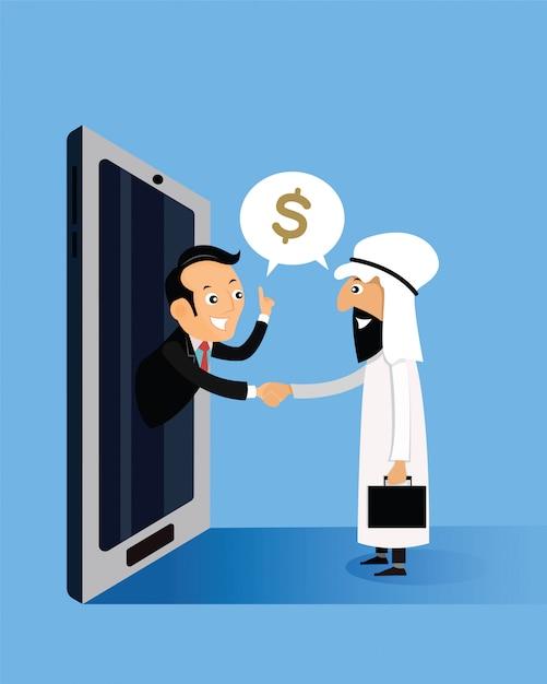 Arabische geschäftsmänner, die hände mit geschäftsmännern halten, kommen aus smartphones heraus Premium Vektoren