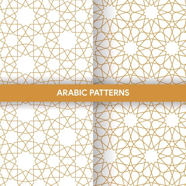 Arabische islamische art-verzierungs-dekorative muster-sammlung Premium Vektoren