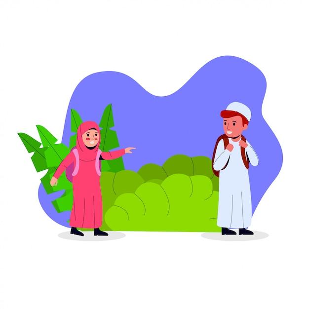 Arabische kinderkarikatur-illustration Premium Vektoren