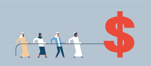 Arabische leute team zugseil dollar symbol reichtum wachstumskonzept Premium Vektoren