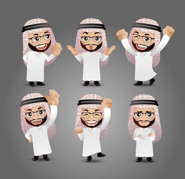 Arabische männer mit verschiedenen posen Premium Vektoren