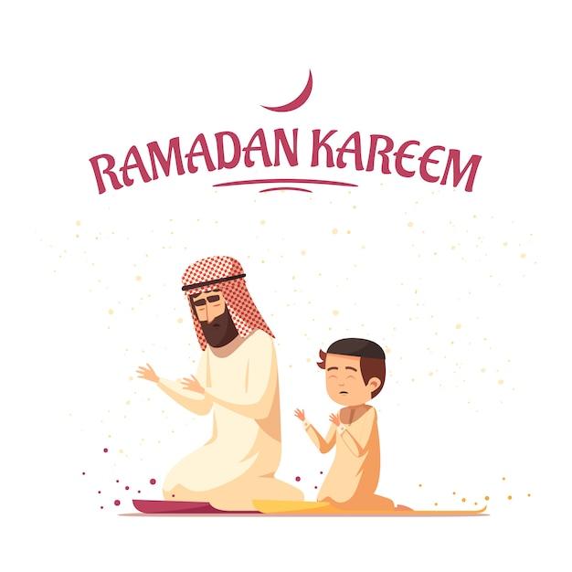 Arabische moslems ramadan kareem cartoon Kostenlosen Vektoren