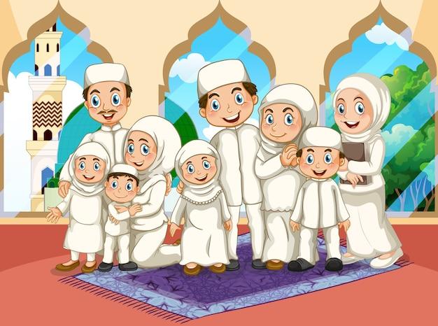 Arabische muslimische große familie, die in traditioneller kleidung in moschee betet Kostenlosen Vektoren