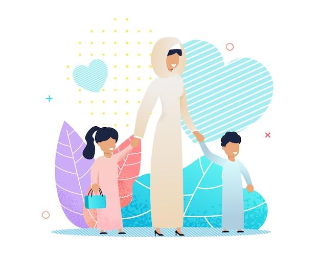 Arabische mutter, die mit verschiedener kinderkarikatur geht Premium Vektoren