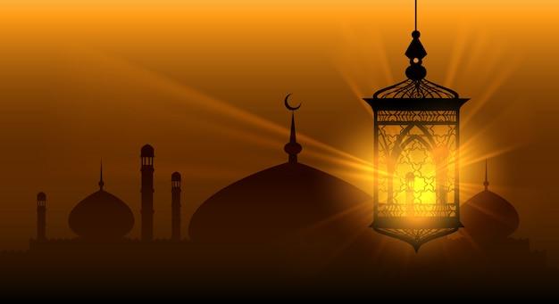 Arabische nächte ramadan kareem islamischen hintergrund Premium Vektoren