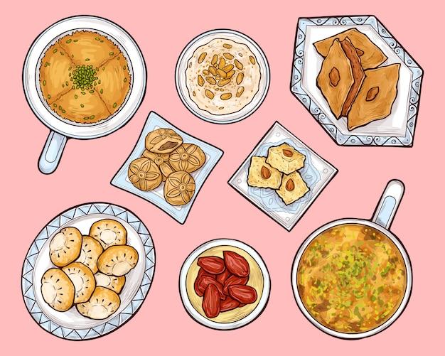 Arabische süßigkeiten draufsicht. arabischer ramadan cuisinefood Kostenlosen Vektoren