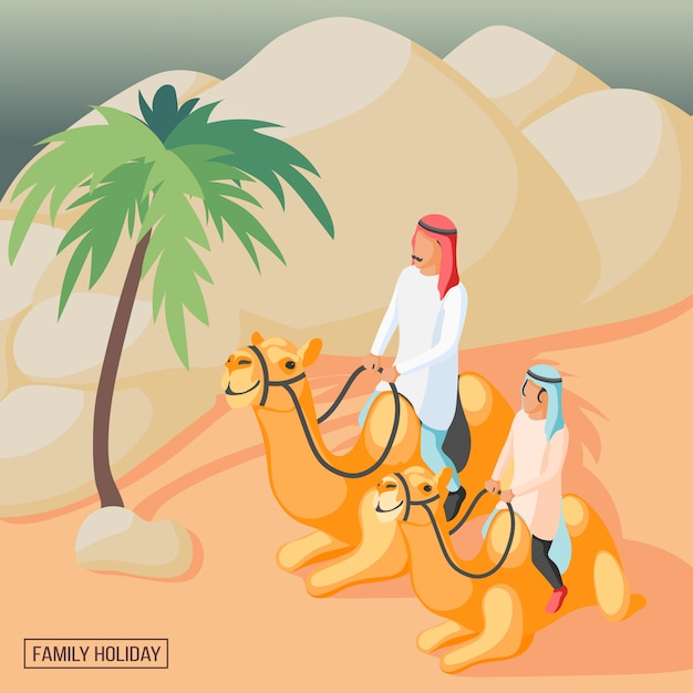 Arabischer familienhintergrund Kostenlosen Vektoren