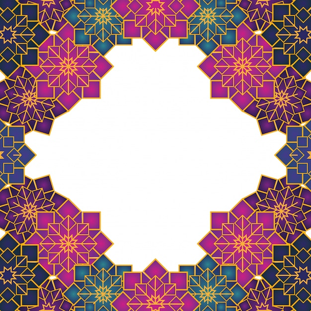 Arabischer geometrischer ornamentrahmen Premium Vektoren