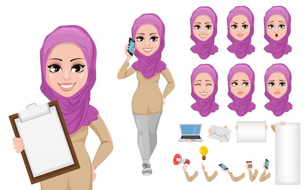 Arabischer geschäftsfrau-zeichentrickfilm-figur-kreationssatz Premium Vektoren