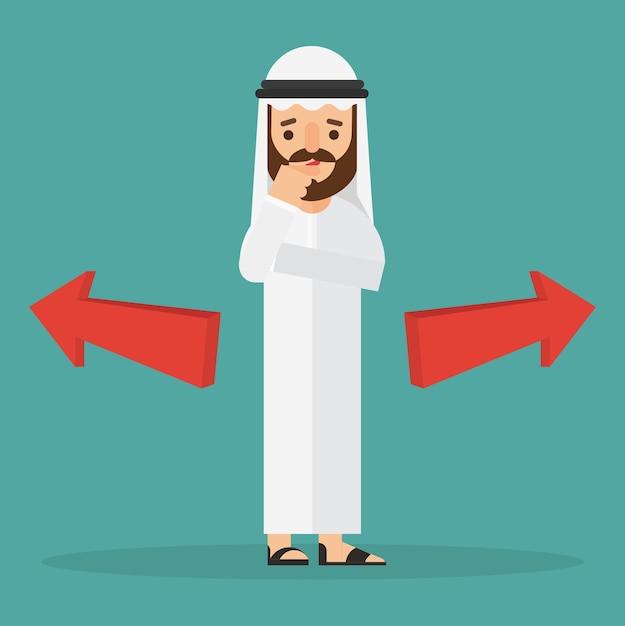 Arabischer geschäftsmann, der an wahl denkt Premium Vektoren