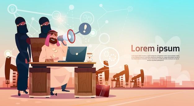 Arabischer geschäftsmann, der mit laptop-computer pumpjack-öl rig crane platform background wealth con arbeitet Premium Vektoren