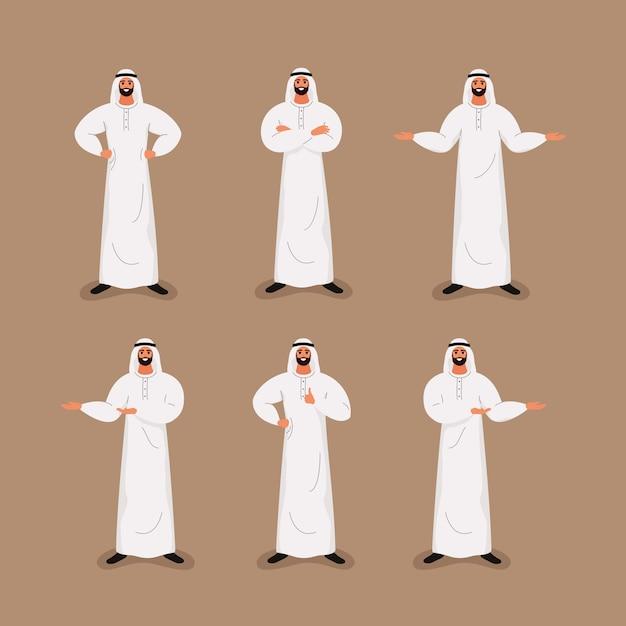 Arabischer hübscher bärtiger geschäftsmann in der traditionellen gesellschaftskleidung in den verschiedenen haltungen. Premium Vektoren
