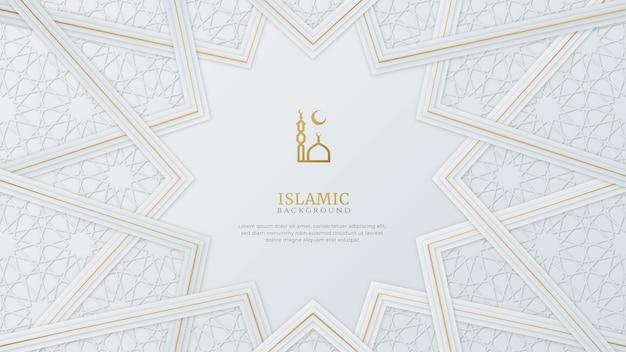 Arabischer islamischer eleganter weißer und goldener luxus-zierhintergrund mit islamischem muster und dekorativem verzierungsrandrahmen Premium Vektoren