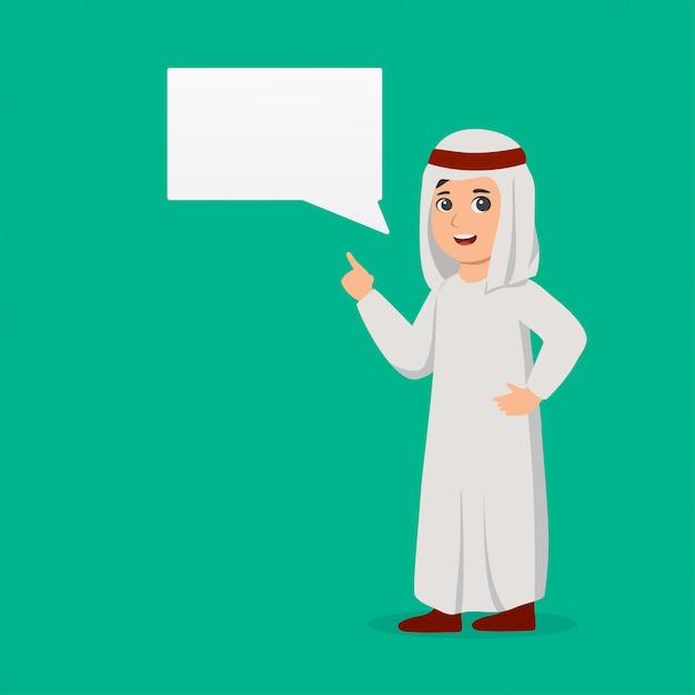 Arabischer junge mit chatblase Premium Vektoren