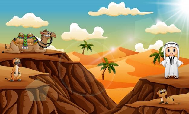 Arabischer junge mit reichlich tier auf der wüste Premium Vektoren