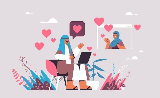 Arabischer mann, der mit frau im arabischen paar der online-dating-app plaudert, das während der virtuellen darstellung des kommunikationskonzepts der sozialen beziehung des virtuellen treffens diskutiert Premium Vektoren