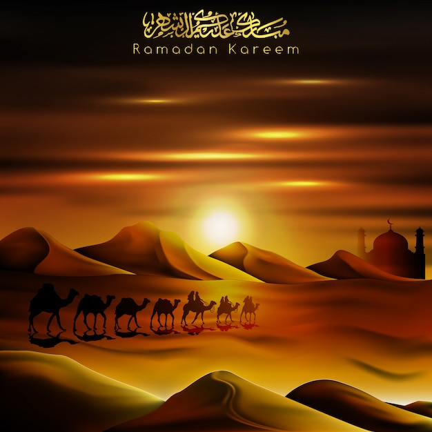Arabischer reisender ramadan kareems auf den grüßenden kamelen Premium Vektoren