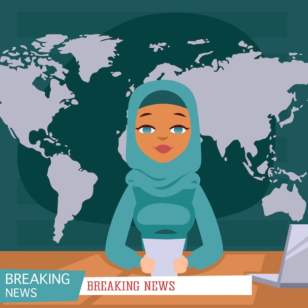 Arabischer weiblicher nachrichtensprecher im fernsehen hintergrund der letzten nachrichten, flache illustration. Premium Vektoren