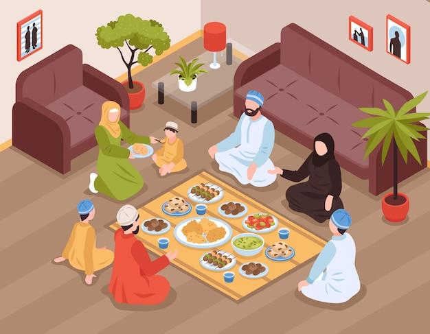 Arabisches familienessen mit traditionellen speisen und getränken isometrisch Kostenlosen Vektoren