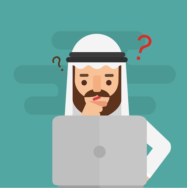Arabisches geschäftsmannzweifeln. geschäfts-konzept Premium Vektoren