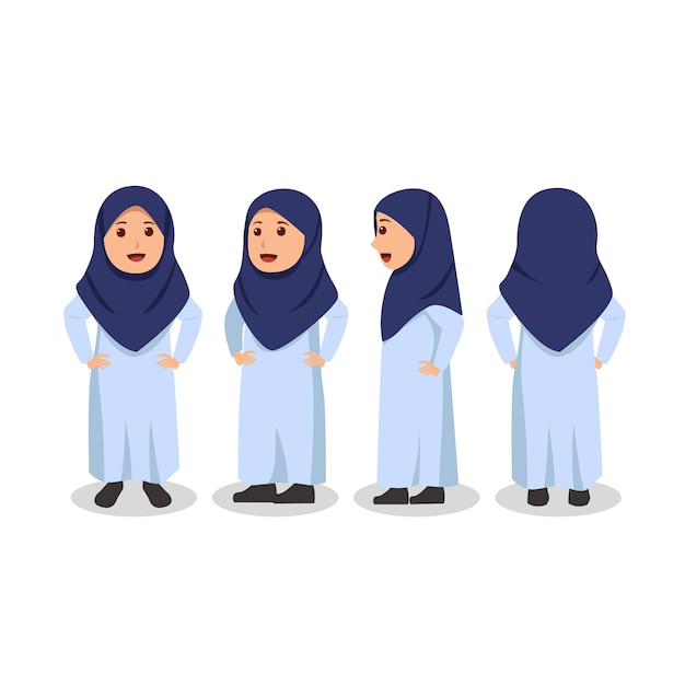 Arabisches kleines mädchen-charakter-design drehen sich herum Premium Vektoren