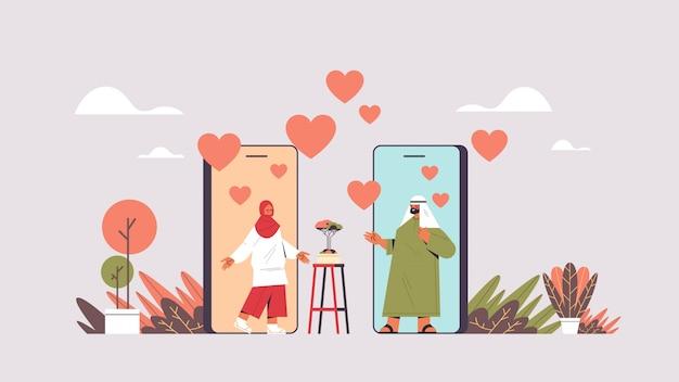 Arabisches paar, das online-mobile-dating-app arabischer mann frau plaudert, die während des virtuellen treffens soziale beziehungskommunikationskonzept horizontale darstellung diskutiert Premium Vektoren