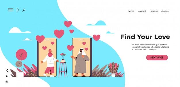 Arabisches paar, das online-mobile-dating-app des arabischen mannes plaudert arabische mannfrau, die während des virtuellen treffens soziale beziehungskommunikationskonzept horizontale kopie raumillustration diskutiert Premium Vektoren