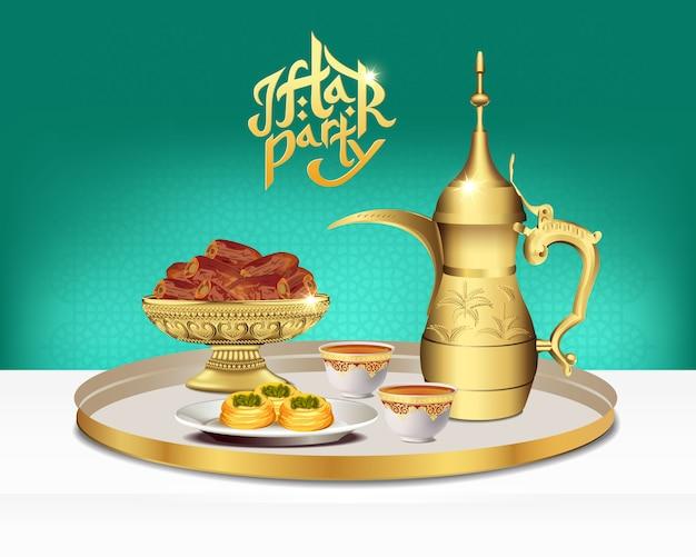 Arabisches teeset mit dattelschale. ramadan iftar party essen. illustration Premium Vektoren