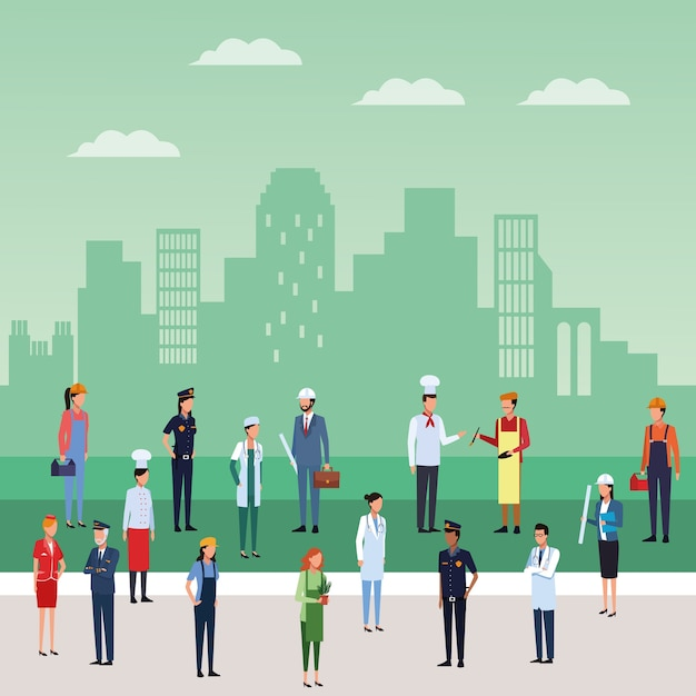 Arbeit und arbeiter Premium Vektoren