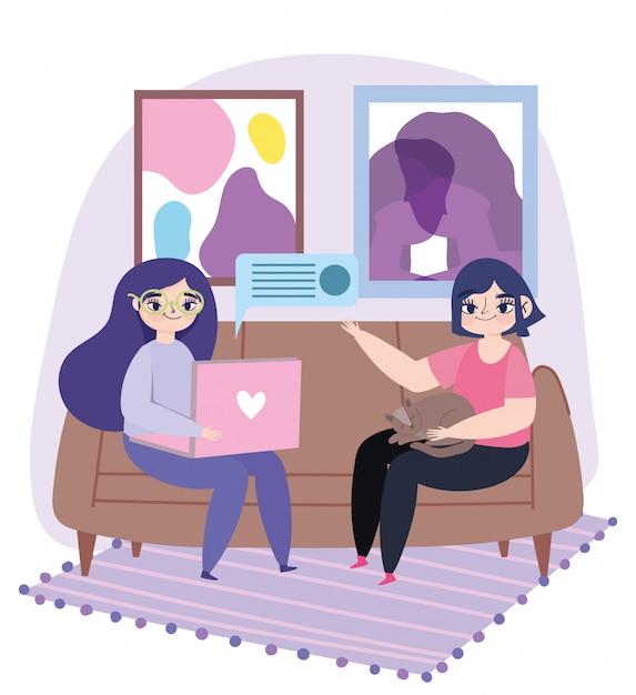 Arbeiten aus der ferne, junge frauen mit laptop und mädchen mit katze auf sofa illustration Premium Vektoren