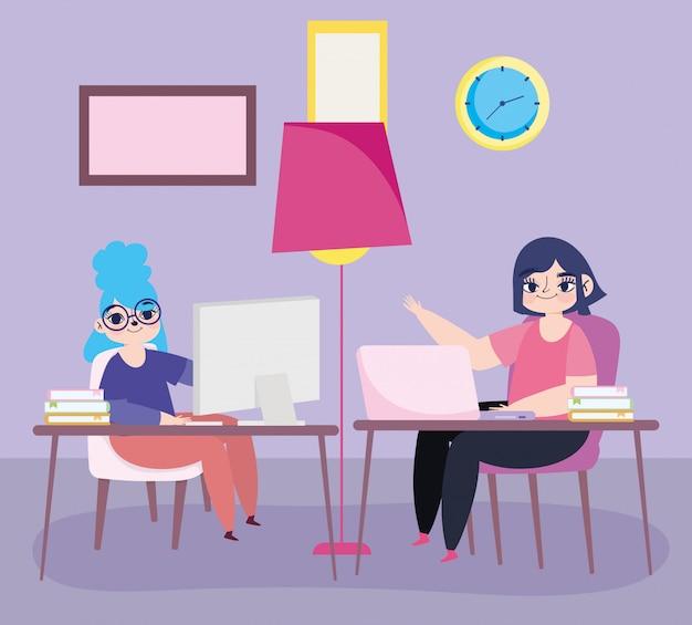 Arbeiten aus der ferne, junge frauen mit laptops in schreibtisch raumuhr und lampe illustration Premium Vektoren