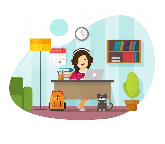 Arbeiten von zu hause aus freiberufler person sitzt auf tisch schreibtisch oder mädchen charakter fernfernlernen und online-lernen auf laptop-computer arbeitsplatz in haus zimmer wohnung illustration Premium Vektoren