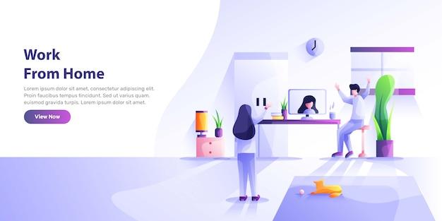 Arbeiten zu hause, coworking space, konzeptillustration. junge leute, mn und womn freiberufler, die zu hause an laptops und computern arbeiten. stilillustration Premium Vektoren