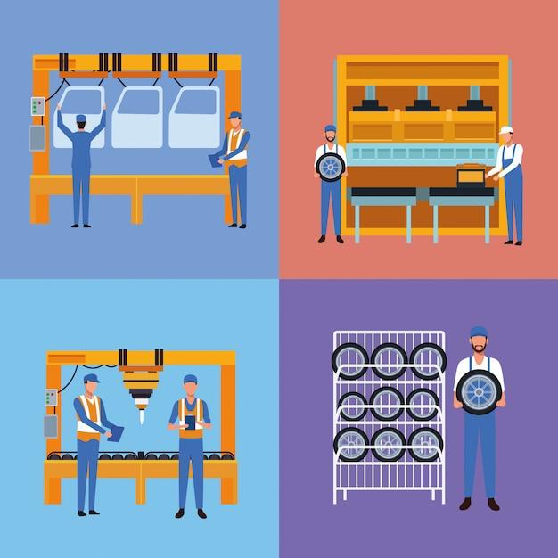 Arbeiter auf autofabrik Premium Vektoren