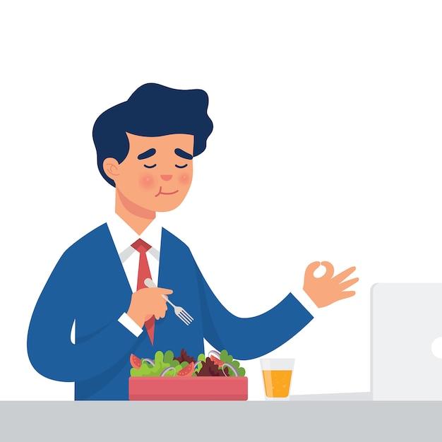 Arbeiter essen salat in seinem büro Premium Vektoren