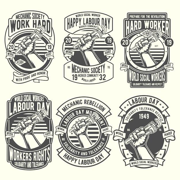 Arbeiter labor day badge gesetzt Premium Vektoren