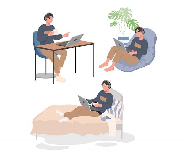 Arbeitet mit laptop auf dem bett, sessel und am tisch Premium Vektoren