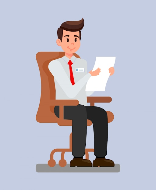 Arbeitgeber an der arbeitsplatz-karikatur-vektorillustration Premium Vektoren