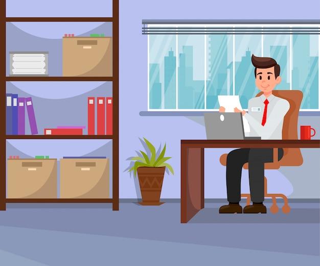 Arbeitgeber, der in der büro-vektorillustration arbeitet Premium Vektoren