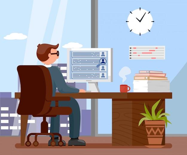 Arbeitgeber in der büro-karikatur-vektor-illustration Premium Vektoren