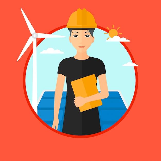 Arbeitnehmerin des sonnenkraftwerks und des windparks. Premium Vektoren
