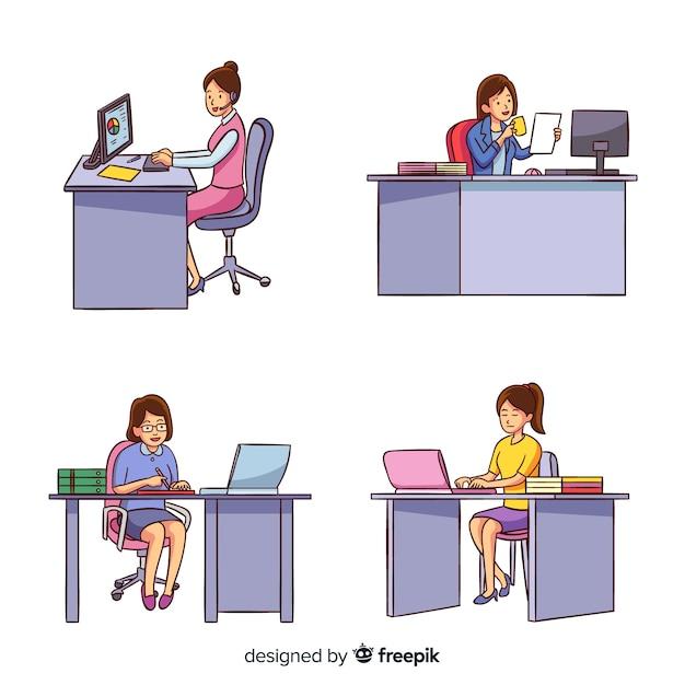 Arbeitnehmerinnen, die an den schreibtischen eingestellt sitzen Kostenlosen Vektoren