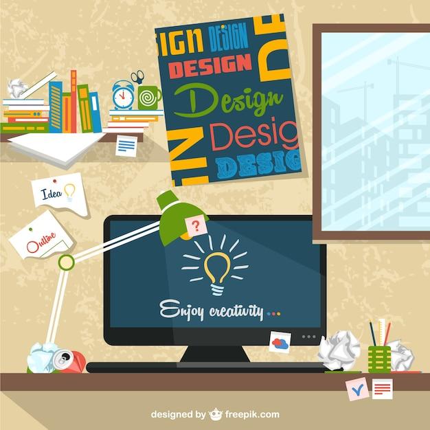 Arbeitsbereich Flach Abbildung Designers Kostenlose Vektoren