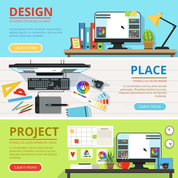 Arbeitsbereich für computerdesigner und grafiker horizontale banner festgelegt Premium Vektoren
