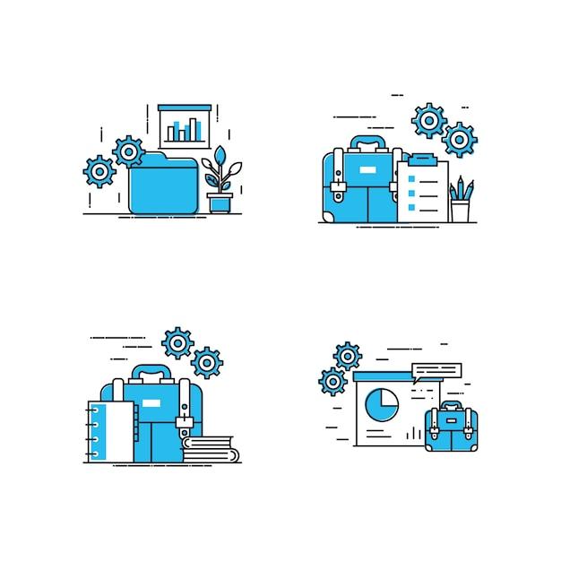 Arbeitsbereich moderne illustration Premium Vektoren