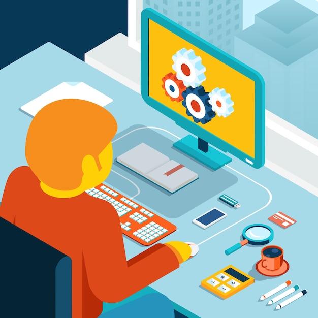 Arbeitsbereich zu hause. arbeitsstation am fenster. isometrische 3d-illustration. desktop und freiberuflich oder programmierer, mann und kaffee, verarbeiten kreativität Kostenlosen Vektoren